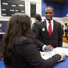 Pace University student at a career fair